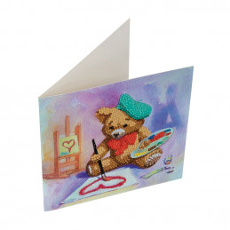 Crystal Art Kit Carte broderie diamant 18x18cm Nounours peintre
