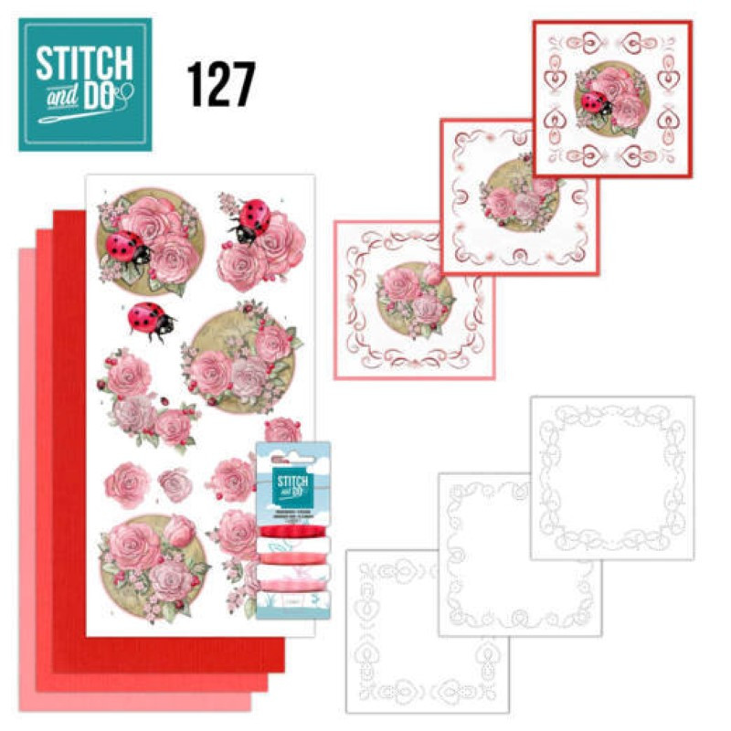Stitch and do 127 - kit Carte 3D broderie - Coccinelles