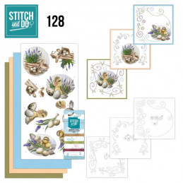 Stitch and do 128 - kit Carte 3D broderie - Canetons et œufs de Pâques