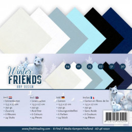 Set 24 cartes carrées Winter friends 13.5x27cm