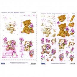 Carte 3D prédéc. - A4 - 83560 - recto/verso Nounours et fleurs