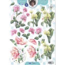 Carte 3D prédéc. - n°376 - Orchidées et roses