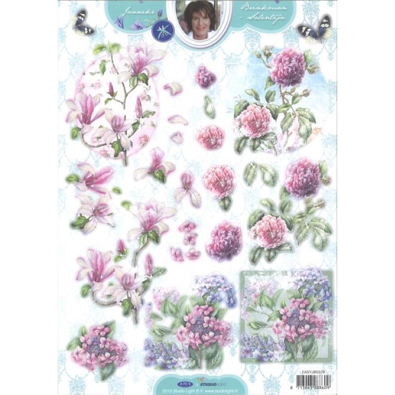 Carte 3D prédéc. - n°378 - Fleurs roses