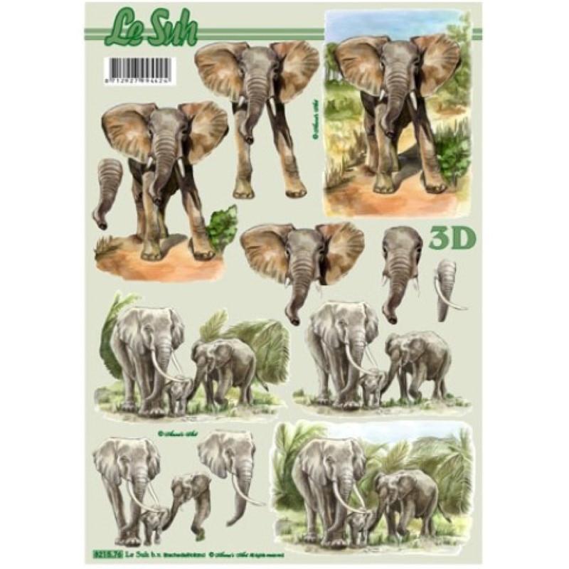 Carte 3D à découper - Eléphants en famille - 821576
