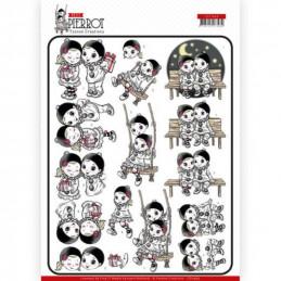 Carte 3D à découper - CD11465 - Petit Pierrot - Contents d'être ensemble