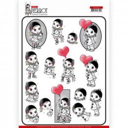 Carte 3D à découper - CD11467 - Petit Pierrot - Avec amour
