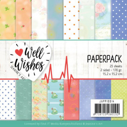Bloc de papier - Jeanine art - Well wishes 15.2 x 15.2