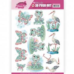 Carte 3D prédéc. - SB10413 - Kitschy Lala - Grenouilles cigogne et papillons