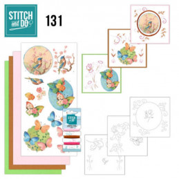 Stitch and do 131 - kit Carte 3D broderie - Oiseaux et papillons