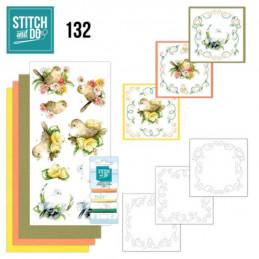 Stitch and do 132 - kit Carte 3D broderie - Oiseaux et fleurs
