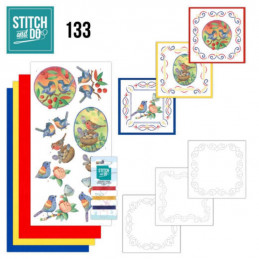 Stitch and do 133 - kit Carte 3D broderie - Oiseaux bleus