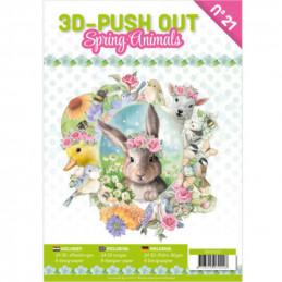 Carte 3D livre A4 prédécoupé - Animaux printemps 24 images + papiers