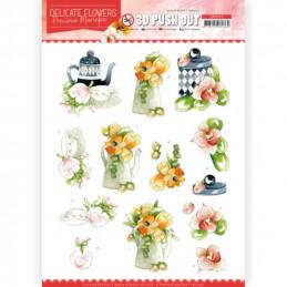 Carte 3D prédéc. - SB10452 - Delicate flowers - Fleurs et thé