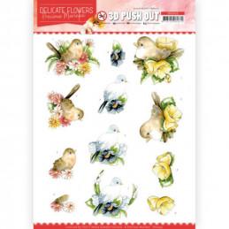 Carte 3D prédéc. - SB10453 - Delicate flowers - Fleurs et oiseaux