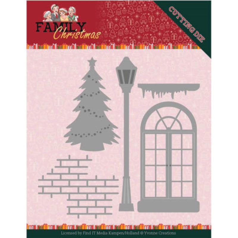 Dies - Yvonne Creations - Family christmas - Fenêtre et sapin