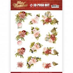 Carte 3D prédéc. - SB10461 - Touch of Christmas - Fleurs roses
