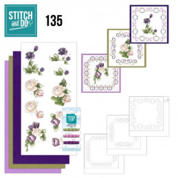 Stitch and do 135 - kit Carte 3D broderie - Fleurs pourpres