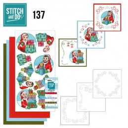 Stitch and do 137 - kit Carte 3D broderie -  Big Guys - Noël