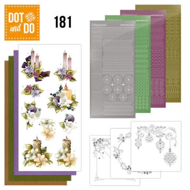 Dot and do 181 - kit Carte 3D  - Bougies de Noël