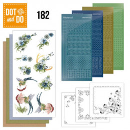 Dot and do 182 - kit Carte 3D  - Fleurs bleues
