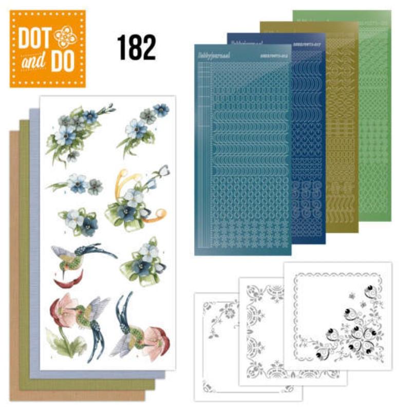 Dot and do 182 - kit Carte 3D  - Fleurs bleues