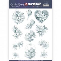 Carte 3D prédéc. - SB10467 - Sensitives moments - Fleurs grises