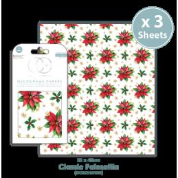 Papier patch 3 feuilles 35x40 cm Poinsettias