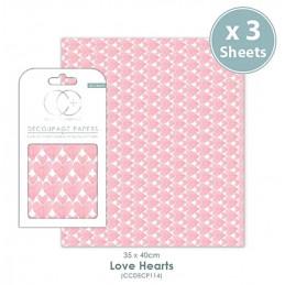 Papier patch 3 feuilles 35x40 cm cœurs roses