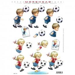 Carte 3D à découper - 11052073 -  Fillette/garçon ballon de foot