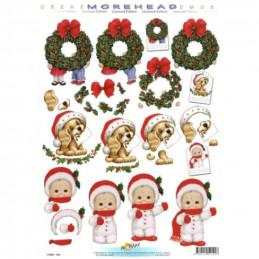 Carte 3D à découper - 11052142 - Chiot lettre de Noël