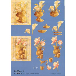 Carte 3D à découper - PARRA 12 - Plantes dans pots/fond bleu