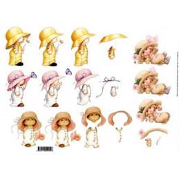 Carte 3D à découper - 11055055 - 4 fillettes aux chapeaux