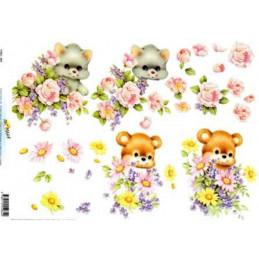 Carte 3D à découper - 11055064 - Animaux/bouquets de fleurs