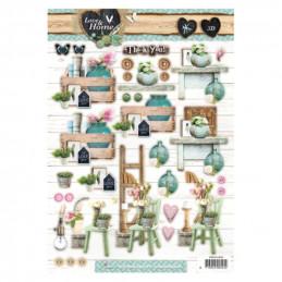 """Carte 3D prédéc. - n°505 -  """"Home"""" Chaise et Fleur"""
