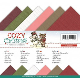 Set 24 feuilles Yvonne Creations - Cozy Christmas 13.5x27cm