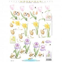 Carte 3D à découper - 11052102 - Chiot et fleurs