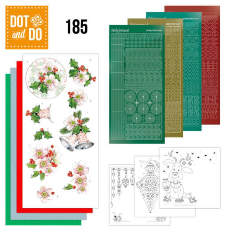 Dot and do 185 - kit Carte 3D  - Fleurs roses de Noël