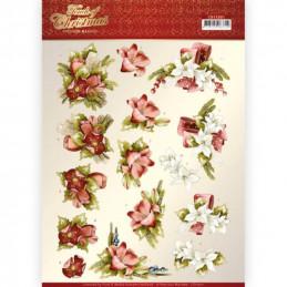 Carte 3D à découper - CD11501 - Touch of Christmas - Fleurs rouges