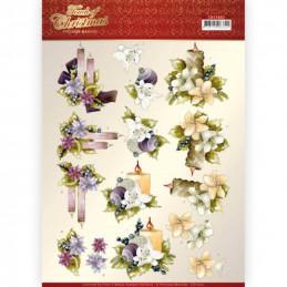 Carte 3D à découper - CD11502 - Touch of Christmas - Bougies fleuries