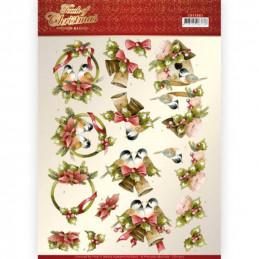 Carte 3D à découper - CD11503 - Touch of Christmas - Oiseaux Noël