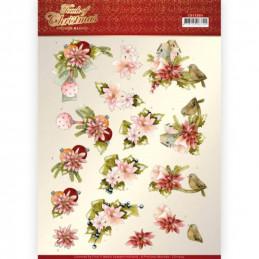 Carte 3D à découper - CD11504 - Touch of Christmas - Fleurs roses