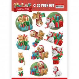 Carte 3D prédéc. - SB10462 - Christmas Pets - Chats et chiens et Cadeaux