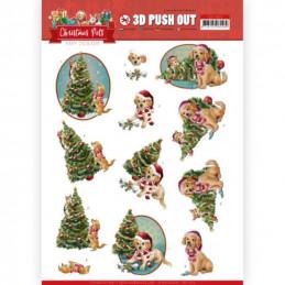 Carte 3D prédéc. - SB10463 - Christmas Pets - Arbre de Noël