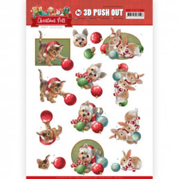 Carte 3D prédéc. - SB10464 - Christmas Pets - Boules de Noël
