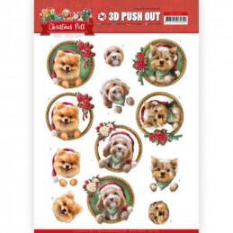 Carte 3D prédéc. - SB10464 - Christmas Pets - Petits Chiens à Noël