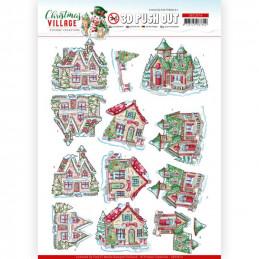 Carte 3D prédéc. - SB10474 - Christmas Village - Maisons à Noël