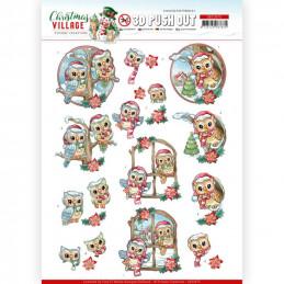 Carte 3D prédéc. - SB10475 - Christmas Village - Petites chouettes à Noël