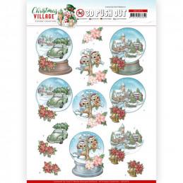 Carte 3D prédéc. - SB10476 - Christmas Village - Globes de Noël