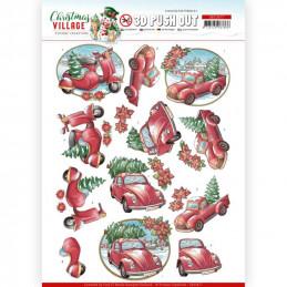 Carte 3D prédéc. - SB10477 - Christmas Village - Transports de Noël