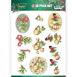 Carte 3D prédéc. - SB10478 - Christmas Flowers - Boules de Noël